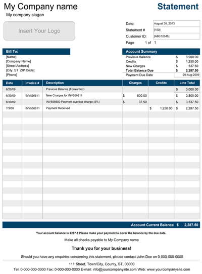 printable account statement template for excel