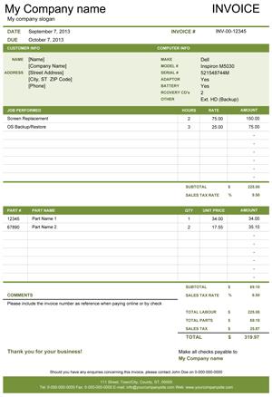 Computer Repair Invoice Screenshot