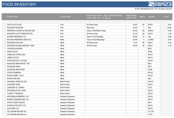 Foodtake – Excel Inventory List Template