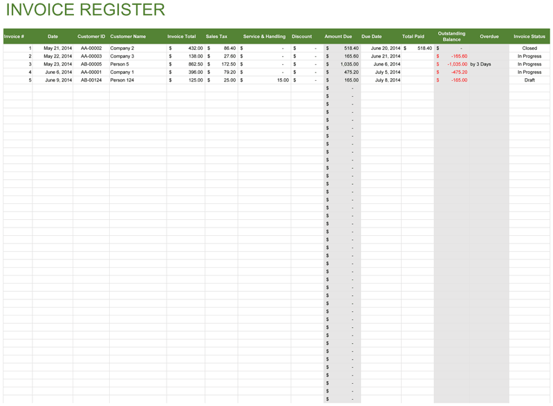 High Quality Invoice Register  Customer Invoice Template Excel