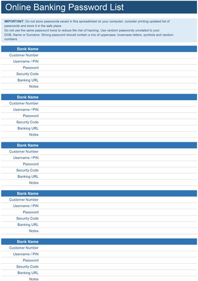 Online Banking Password List Screenshot