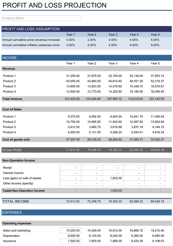 5Year Financial Plan – Excel Profit and Loss Template