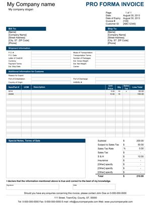Pro Forma Invoice Screenshot