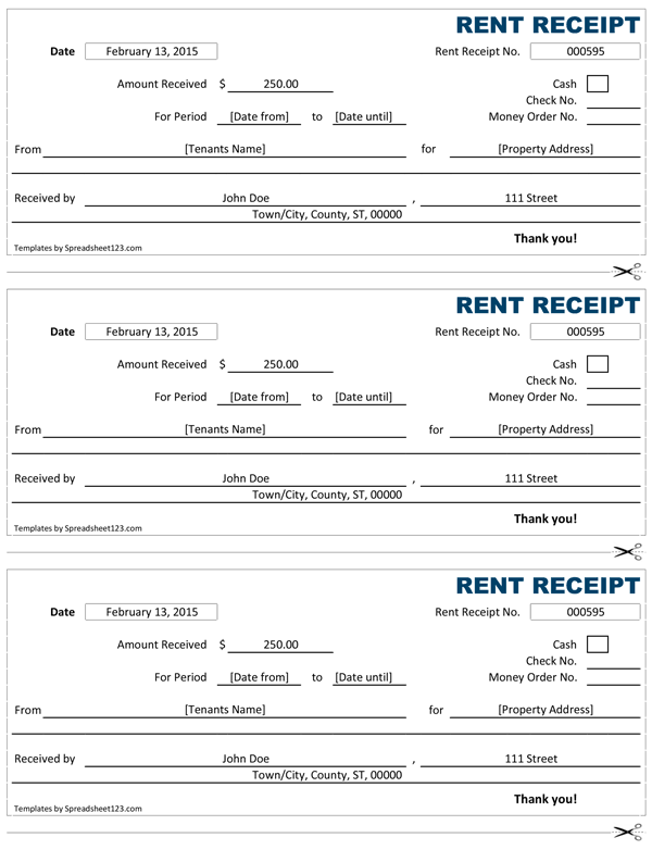 Rent Receipt Free Rent Receipt Template for Excel OiSbHQdA