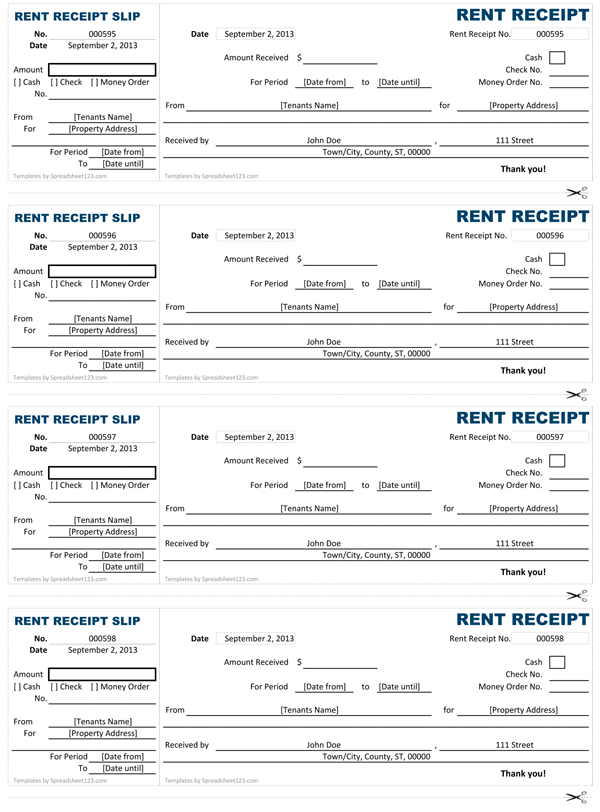 Rent Receipt Free Rent Receipt Template for Excel qTuVhNTI