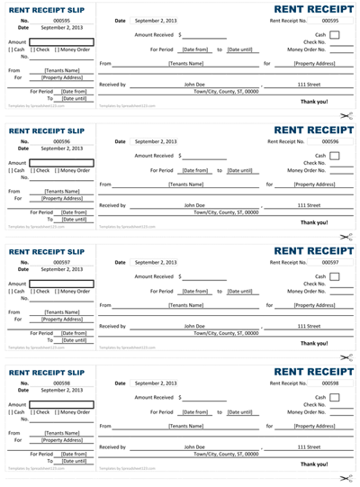 Rent Receipt Screenshot