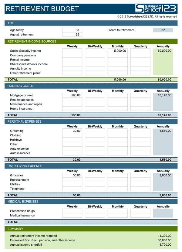 Retirement budget planner free template for excel for Monthly living expenses template
