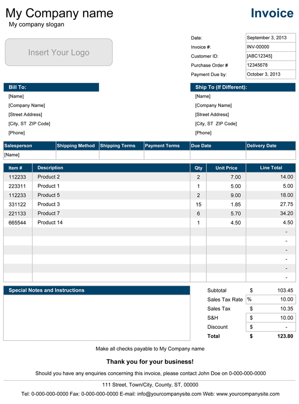 Sales Invoice Template For Excel - Excel invoice templates free download