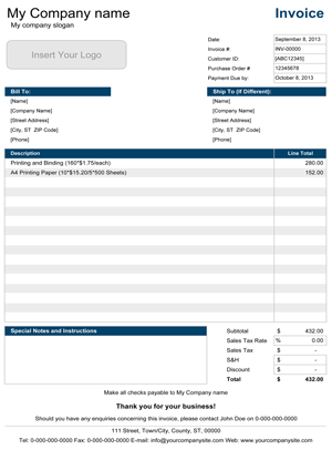 Simple Invoice Template Screenshot