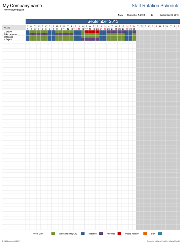 daily work schedule excel template