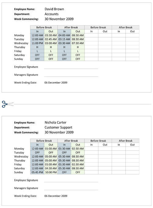 Work Shift Schedule Timetable Template For Excel