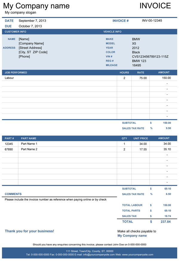 sales invoice layout