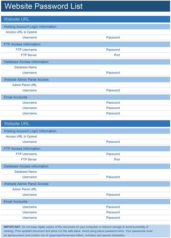 Website Password List Template For Excel