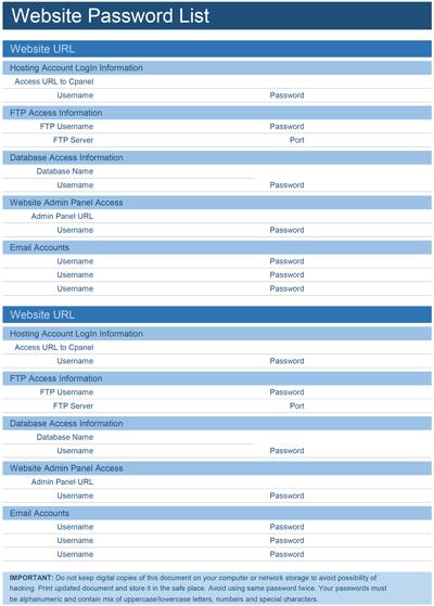 Website Password List Screenshot