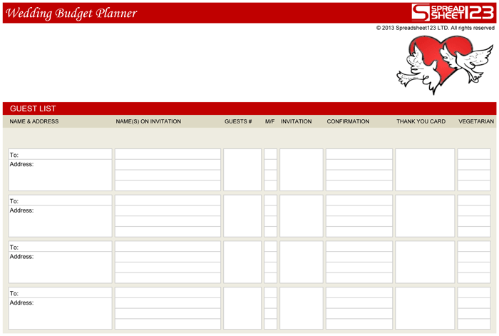 Free wedding budget planner template for excel 2 sciox Images