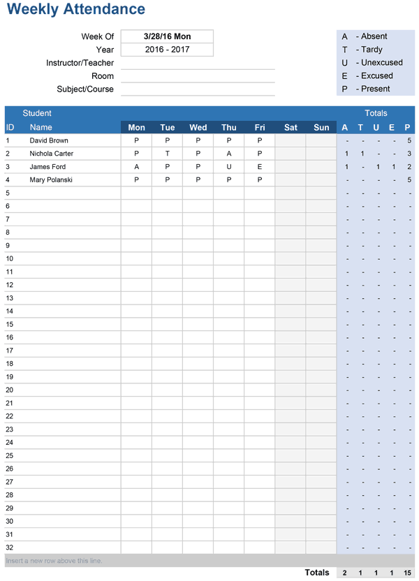 printable attendance trackers for excel