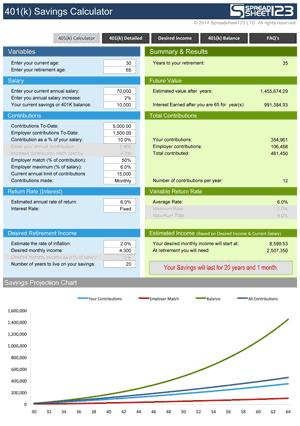 401k Savings Calculator Screenshot