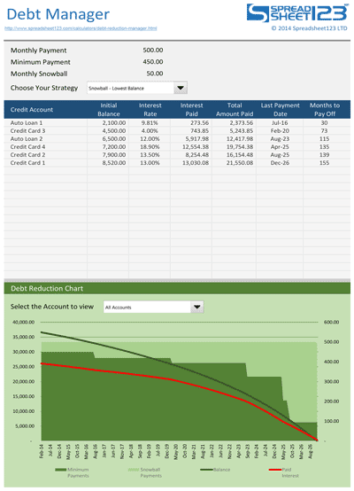 Debt Reduction Manager Extended Screenshot