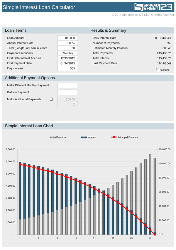 Simple Interest Loan Calculator Free For Excel . Payment Calculator Excel  Template