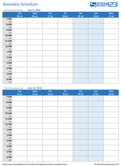 Biweekly Schedule Screenshot