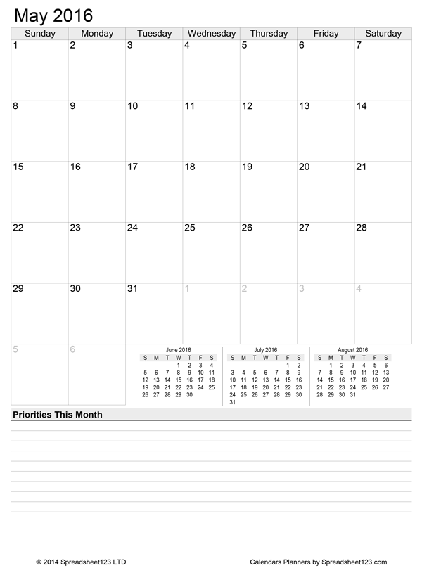 Free Printable Monthly Calendar Planner For Excel