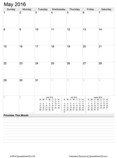 Monthly Calendar Planner Screenshot