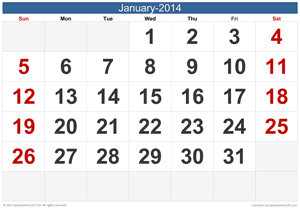 Monthly Wall Calendar Screenshot