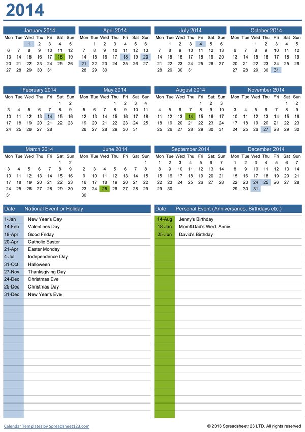 Perpetual yearly calendar with birthdays free template for excel perpetual yearly calendar saigontimesfo