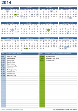 Perpetual Yearly Calendar Screenshot
