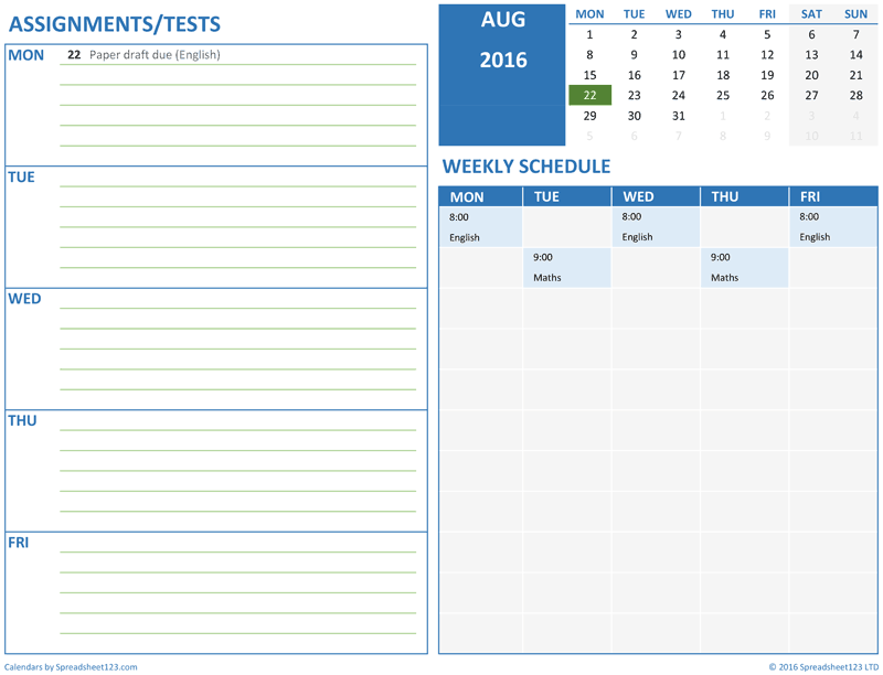 Printable Monthly Student Schedule For Excel