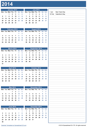 Yearly Calendar with Notes Screenshot
