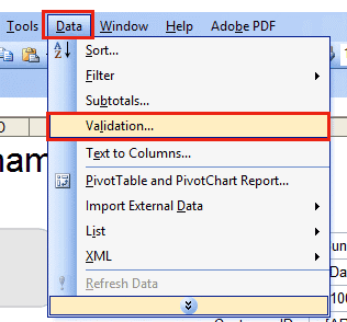 Data Validation Excel 2003
