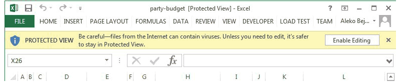 Excel - Protected View