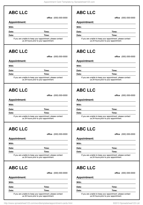 Appointment card template for word for Appointment cards templates free