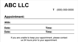 Blank Appointment Card - 8 Screenshot