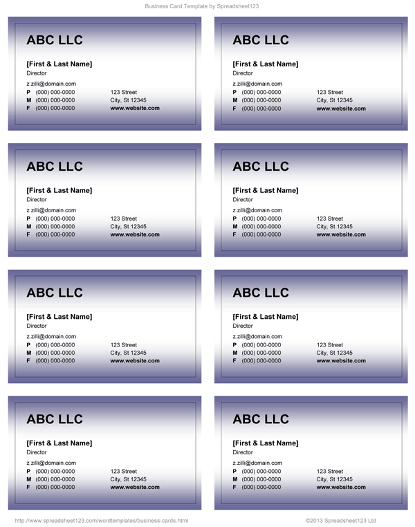 Purple Business Card   8.1  Card Template For Word