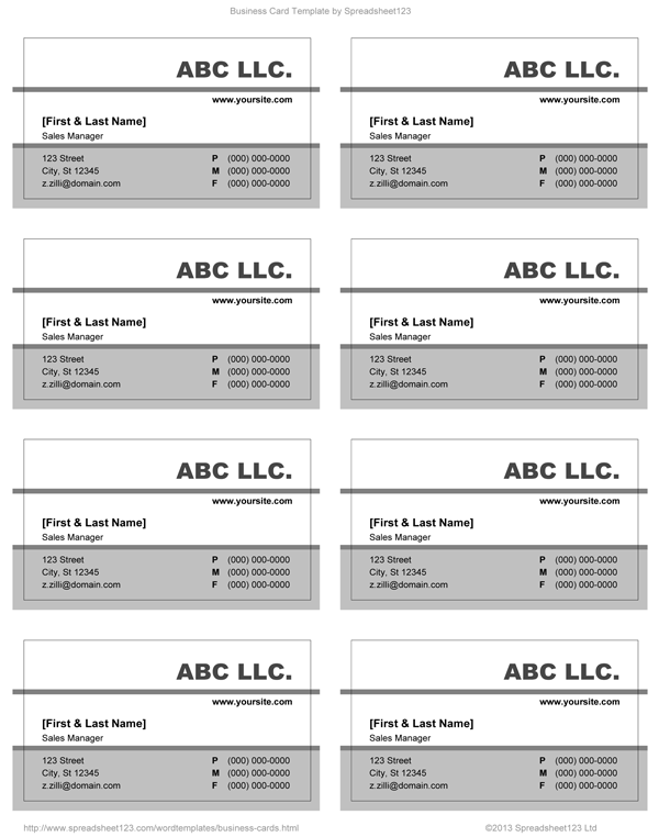 Business card templates for word grey and white business card 82 fbccfo Choice Image