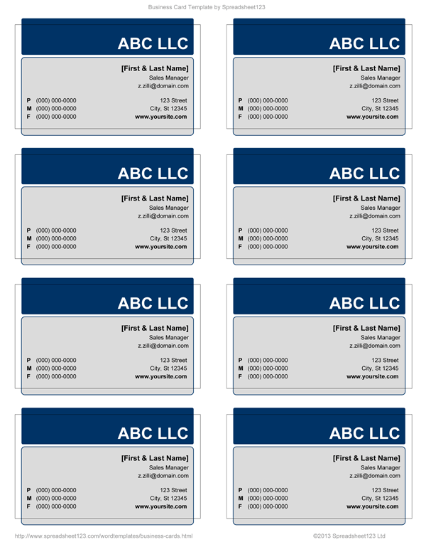 Business Card Templates for Word