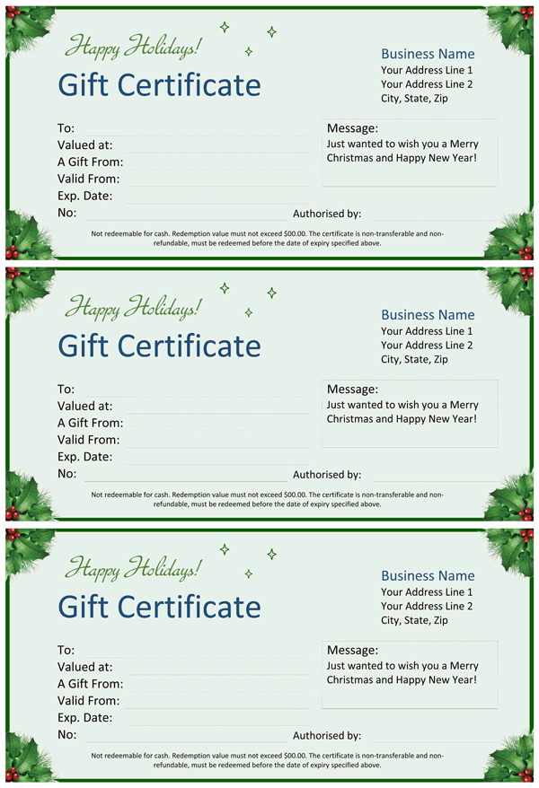 Christmas Gift Certificate for Word