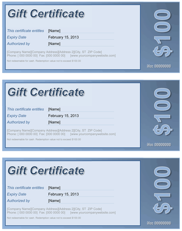 Gift Certificate Blue. For Word® 2003+  Gift Certificate Template Word 2003
