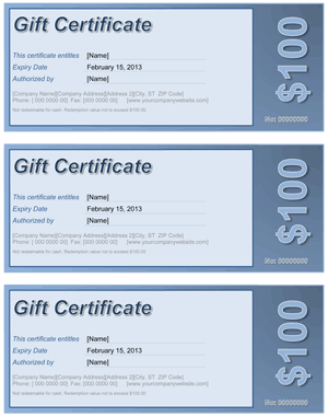 Gift Certificate Blue Screenshot