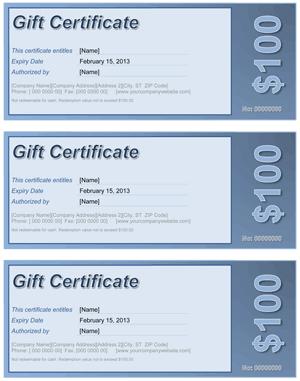 Gift Certificate Blue Screenshot