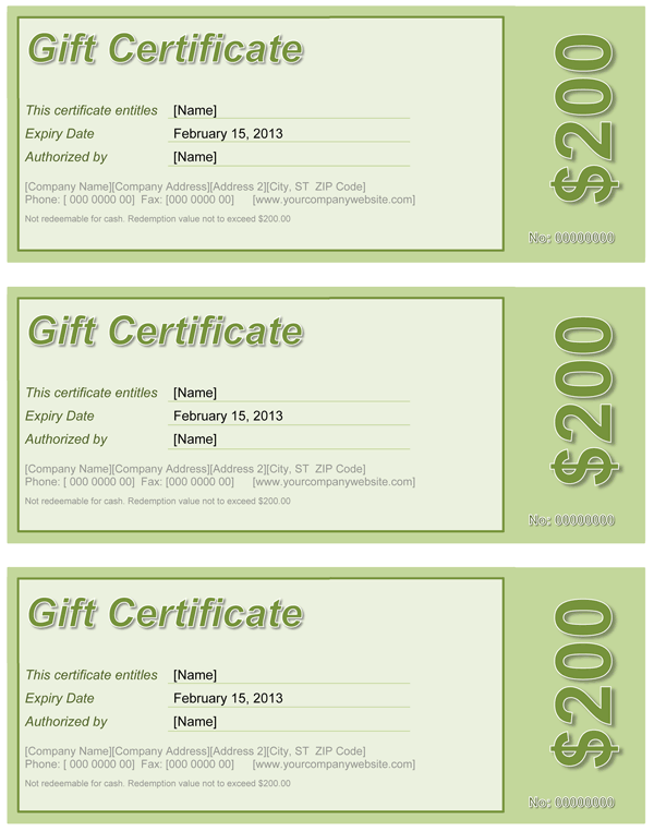 Gift Certificate Green Throughout Gift Certificate Template Word 2003