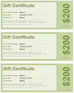 Gift Certificate Green Screenshot