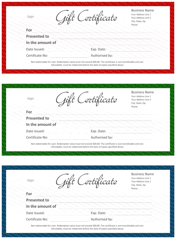 Official Gift Certificate  Official Certificate Template