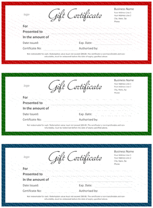 Official Gift Certificate Screenshot